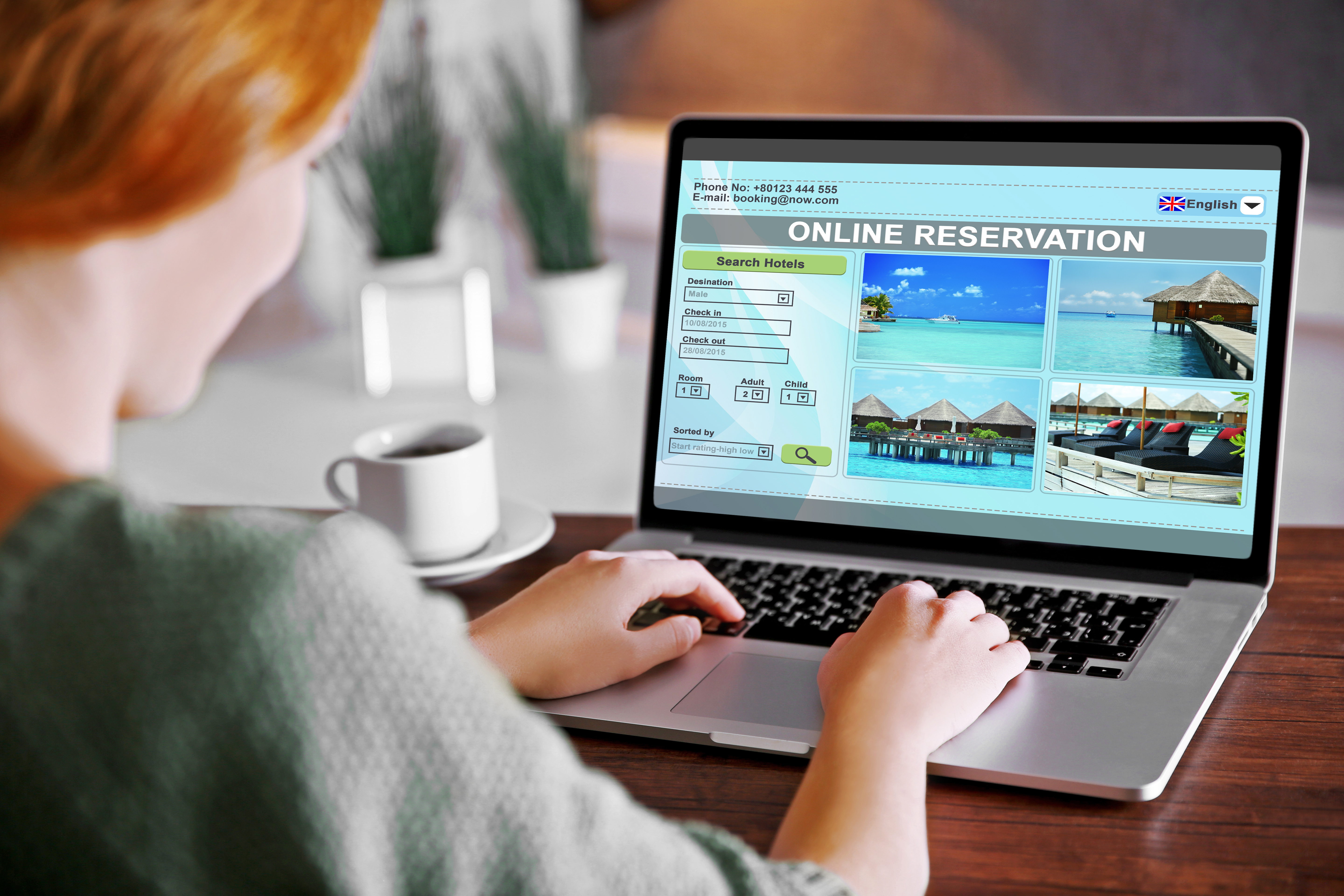 Woman Booking Vacation Online
